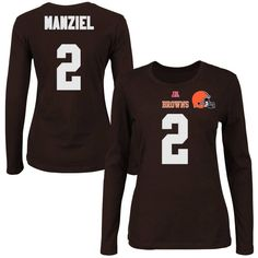 Johnny Manziel Cleveland Browns Historic Logo Majestic Women's Fair Catch V Name & Number Long Sleeve T-Shirt - Brown