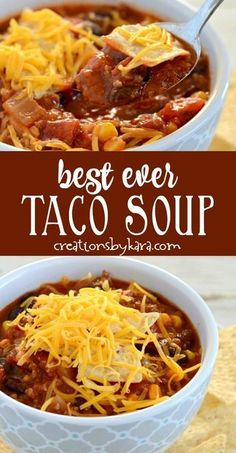 Recipe for the best ever taco soup. If you need dinner in a hurry, this is a perfect soup recipe! #tacosoup #bestevertacosoup #recipefortacosoup #easytacosoup #creationsbykara