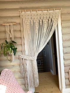 Macrame Curtain, Beaded Curtains, Diy Curtains, Decorative Curtains, Bohemian Curtains, Diy Home Decor, Room Decor, Curtain Holder, Curtain Designs