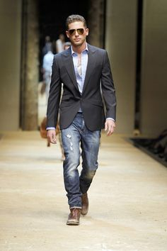 Dolce and Gabbana...mix a suit jacket with some jeans and distressed leather shoes for the perfect night-out-on-the-town outfit.
