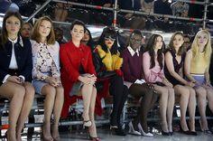 Adele Exarchopoulos, Lea Seydoux, Margot Robbie Rihanna, Lupita Nyong'o, Elizabeth Olsen, Bella Heathcote and Elle Fanning @ Miu Miu... ((so much amazing girl power!))