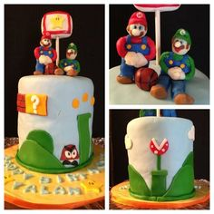 Mario vs. Luigi  Cake by SweetOblivion
