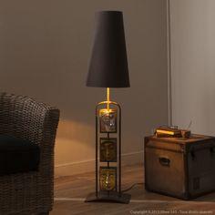 Lampe de sol en m�tal et r�sine avec abat jour en coton hauteur 125 cm Samara
