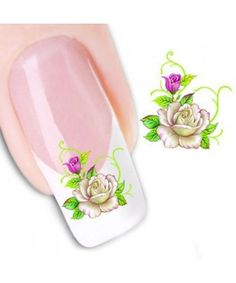White Rose Pattern Nail Art Stickers