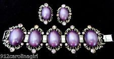 Purple Passion Massive SELRO Attributed Bracelet Earrings Set Demi Parure