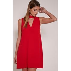 Cinder Red Cut Out Neck Shift Dress ($85) ❤ liked on Polyvore featuring dresses, red, red cutout dress, red shift dress, shift dress, straight dress and red dress