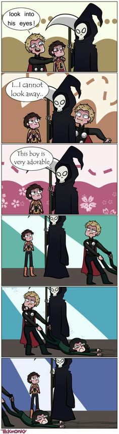 Thor and Peter visit death to save Loki pt. Loki doesn't want to leave! Funny Marvel Memes, Marvel Jokes, Dc Memes, Funny Comics, Avengers Humor, Funny Memes, Hilarious, Marvel Avengers, Hero Marvel