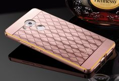 Huawei Mate 8 Metal Bumper Frame + Lattice Diamond Pattern PC Back Plate Case