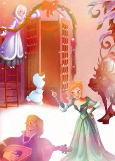 Frozen characters during Christmas...where did this picture come from, cause if it's in a real Disney book, I want it!