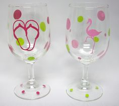 Acrylic Wine Glasses Details about  /Brighten the Season PINK FLAMNGO with flip flops