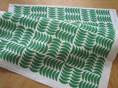 Gwen in Kelly- Original Vintage Inspired Leaf Print Home Decor Fabric Yardage. $42.00, via Etsy.