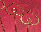 Brass Valentine Heart Headpin Finding 6 pc