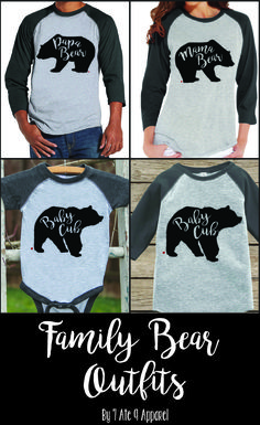 Matching Shirts for the whole family! Papa Bear Shirt, Mama Shirt, Family Outfits, Baby Boy Outfits, Dad To Be Shirts, Kids Shirts, Fall Shirts, Tee Shirts, Baby Cubs