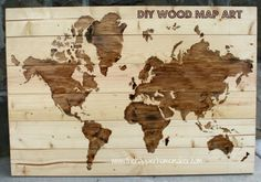 DIY Wall Art Ideas and Do It Yourself Wall Decor for Living Room, Bedroom, Bathroom, Teen Rooms | DIY Wooden World Map Wall Art | Cheap Ideas for Those On A Budget. Paint Awesome Hanging Pictures With These Easy Step By Step Tutorials and Projects | http://diyjoy.com/diy-wall-art-decor-ideas