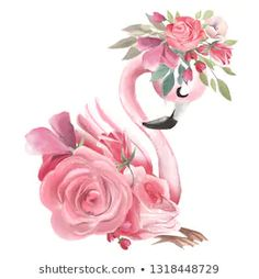 Cute dreaming girl baby pink flamingo with flowers, floral wreath - Buy this stock illustration and explore similar illustrations at Adobe Stock Flamingo Painting, Flamingo Art, Pink Flamingos, Flamingo Flower, Peony Flower, Animal Paintings, Animal Drawings, Art Drawings, Flamingo Wallpaper