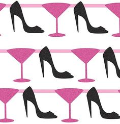 A Glitter Garland with Martinis & Stilettos-- a great decoration for a Bachelorette Party!