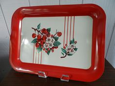 Vintage Red Cherry and Blossom Metal Tray