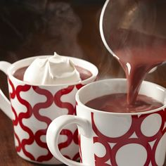 Red Velvet Hot Chocolate  (4 cups whole milk  1/4 cup granulated sugar  10 ounces semi-sweet baking chocolate, coarsely chopped  2 teaspoons McCormick® Red Food Color  1 teaspoon McCormick® Pure Vanilla Extract  Miniature marshmallow) #foods #recipes