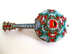 Vintage Micro Mini Mosaic Brooch Pin Brass Made in Italy on ebay