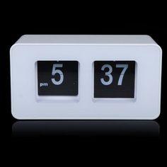 5c41da313ac EverTrust(TM) White Retro Auto Flip Clock File Down Page Clocks Classic  Stylish Modern Desk Table Clock