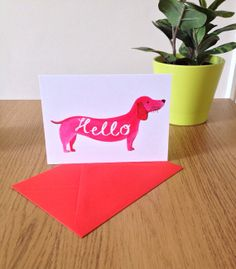Hello Dog card by CarolineDowsett on Etsy, £2.00
