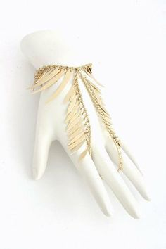 """Gold Fringed Hand Bracelet - Gold Ring Bracelet Chain Connected StarShine Jewelry. $12.99. Wrist length: 6"""" - 9"""" (adjustable). Lobster claw clasp with 3"""" extender. Lead and nickel compliant. Wrist to ring length: 3.5"""". Semi polish finish"""