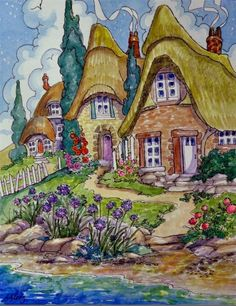 """Daily Paintworks - """"Whimsies by the Shore Storybook Cottage Series"""" - Original Fine Art for Sale - © Alida Akers Cute Cottage, Cottage Art, Painted Cottage, Storybook Cottage, Doodle, House Drawing, Whimsical Art, Cute Illustration, Folk Art"""