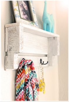 Rustic White Shelf - Entry Shelf With Hooks - Rustic Pallet Shelf - Shelf with Hooks - Shelf with Hooks - Entryway Storage