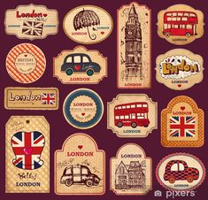 Vintage Labels Vintage tags and labels with London symbols Vinyl Wall Mural - European Cities - Vintage tags and labels with London symbols Wall Mural ✓ Easy Installation ✓ 365 Day Money Back Guarantee ✓ Browse other patterns from this collection! Vintage Tags, Vintage Labels, Vintage Posters, Printable Stickers, Printable Paper, Cute Stickers, Printable Vintage, Free Printables, Journal Stickers