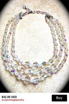 3 Strand Crystal Necklace-Aurora Borealis Necklace-Wedding Necklace- 1950s Crystal Choker- Vintage Crystal Necklace-Crys