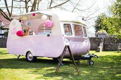 Vintage pink ice cream van caravan trailer