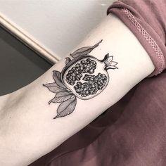beautiful black and white botanical pomegranate tattoo Tattoo artist Sandra Cunha authors style blackwork tattoo, linework, surrealism Black Line Tattoo, Line Work Tattoo, Dot Work Tattoo, Black Tattoos, Black Work Tattoo, Forearm Tattoos, Body Art Tattoos, Sleeve Tattoos, Cool Tattoos