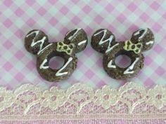 2 pcs Mouse Doughnuts Chocolate cabochons Sweet by forestdiy