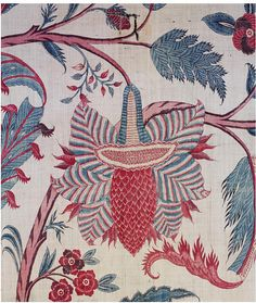 Palampore (detail), painted and dyed cotton chintz, Coromandel Coast, var r wht n bl Textile Prints, Textile Patterns, Textile Design, Flower Patterns, Textile Art, Print Patterns, Art Nouveau, Chintz Fabric, Indian Flowers