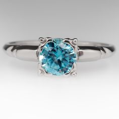 1+Carat+Blue+Zircon+Vintage+Solitaire+Ring