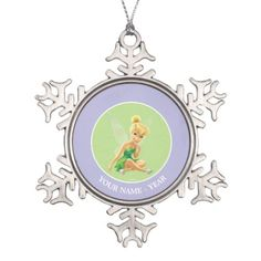 Tinker Bell | Hand On Chin Add Your Name Snowflake Pewter Christmas Ornament