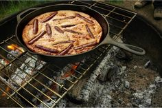 """Yummy and easy. Only change was that I used maple breakfast sausages and sliced them before cooking them. """"This campfire breakfast toad in the hole recipe has breakfast sausage, a cornmeal batter, and maple syrup. Campfire Breakfast, Campfire Food, Sausage Breakfast, Breakfast Recipes, Campfire Recipes, Breakfast Ideas, Breakfast Skillet, Toad In The Hole, Mini Hamburgers"""