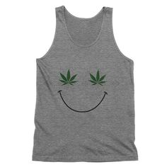 Weed Leaf Happy Face Tank Top  American Weed Tank Top    420, smoke weed, stoner clothes, hippuy fashion, festival clothes, marijuana shirt, pot leaf, girls who smoke,    This must-have unisex tank is updated with a modern fit, featuring a rounded neck and designed with superior combed and ring-spun cotton. Unisex sizing.    White - 100% combed and ring-spun cotton.  Tri Blend - 50% poly 25% combed and ring-spun cotton and 25% rayon