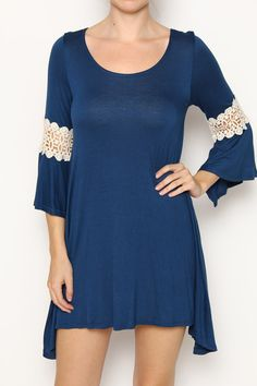 """Navy Solid  3/4 sleeve dress/top  featuring crochet lace trim • Body length: Front 33"""" Back 34.5""""  You don't want to miss out on this high quality comfortable item.  Made in the US"""