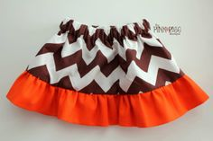 Toddler Girl's Ruffle Skirt - Brown Chevron - Orange Ruffle - Custom Made #ThePinkRoseBoutique