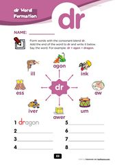 free - Blends Worksheets - Consonant Cluster : dr