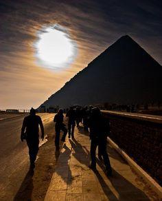 Sunset. Pyramids.
