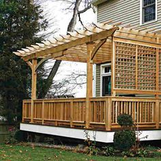 slidding back doors with small deck   Wood Deck With Pergola And Lattice