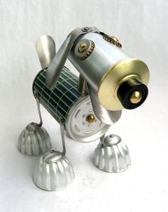Sterling - Found Object Robot Dog Assemblage Sculpture by Brian Marshall