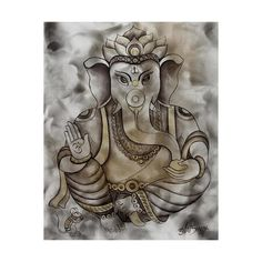 NOVICA Hinduism Deity Signed Ganesha Painting from India (€295) ❤ liked on Polyvore featuring home, home decor, wall art, expressionist paintings, paintings, indian hand painting, novica home decor, novica, hand painting and acrylic wall art