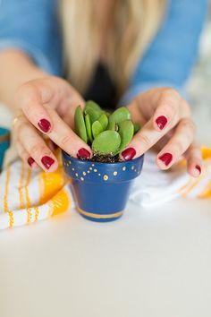 DIY mini painted succulent pots