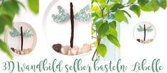 Deko Frühling Wandbild mit Libelle / Pailletten
