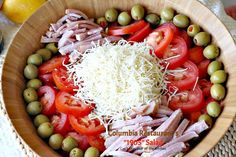 The most amazing salad: meats, cheese, lettuce, tomatoes & olives in a fantastic dressing. You will want more and more of this great salad. Hcg Recipes, Salad Recipes, Cooking Recipes, Healthy Recipes, Candy Recipes, 1905 Salad Recipe, Columbia Restaurant, Best Salad Dressing, Chef Salad
