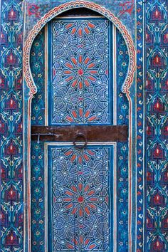Two Fès Doors painted palace door in Fès, Morocco by photography by Julie Hall.