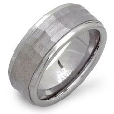 Tungsten Carbide Men's Ladies Unisex Ring Wedding Band 9MM Stepped Down Edges Shiny Brushed Hammered Center Comfort Fit (Available in Sizes 6 to 15) DazzlingRock Collection. $24.79. 9mm wide. Get most bang for your buck. Stamped Tungsten Carbide. Unisex Ring